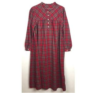 Flannel Plaid Nightgown Maxi Long Raw Edge